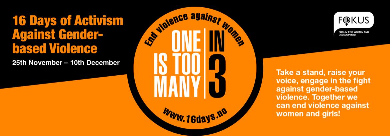 d87476f7 16 Days of Activism Against Gender-based Violence er en internasjonal  kampanje som arrangeres over hele verden fra 25. november til 10. desember  hvert år.