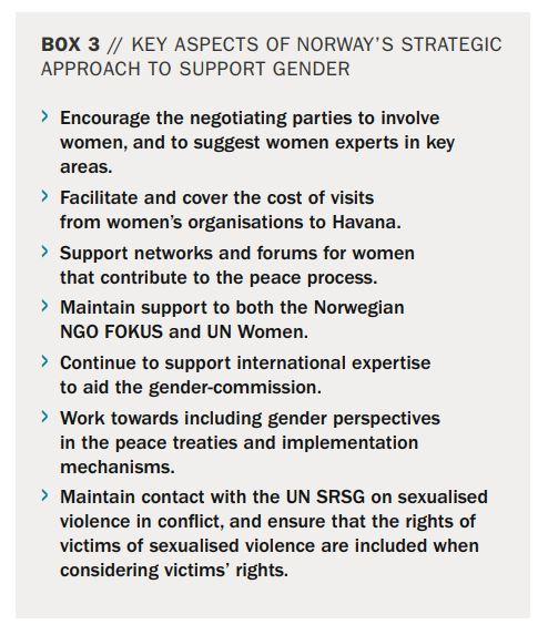 Bilde av tekstboks fra Norad-rapporten som viserat det å støtte FOKUS var et hovedpunkt i den norske strategien.